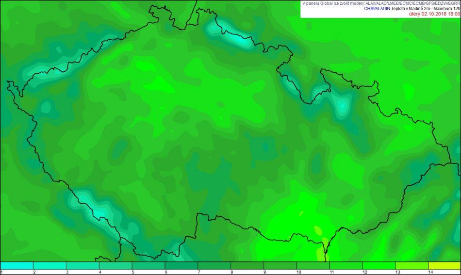 b041bed7133 Obr. 1 Předpověď maximálních teplot na úterý 2. 10. 2018 podle modelu  Aladin z 00 UTC